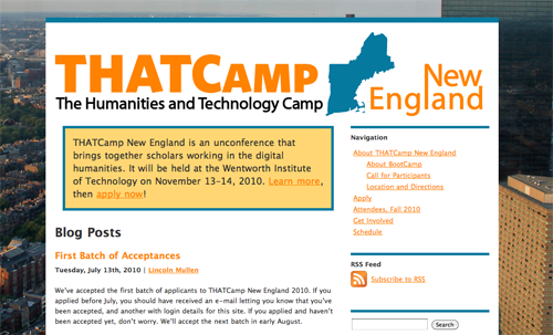 THATCamp New England website