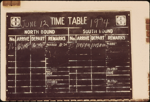 Timetable at Pauls Valley, Oklahoma ... June 1974