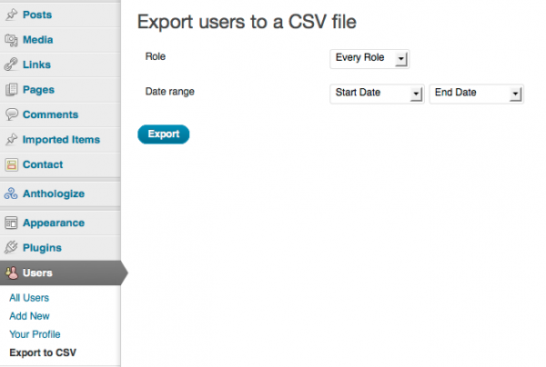 THATCamp Users Export to CSV