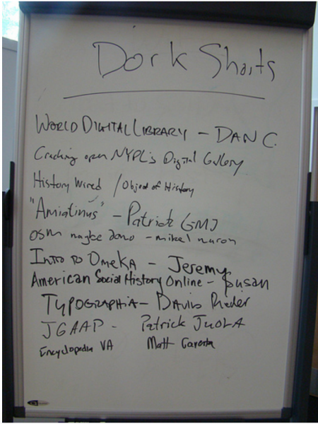 Whiteboard of Dork Shorts signups