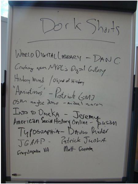 Whiteboard of Dork Shorts signups